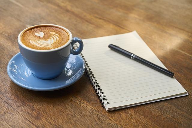 káva a sešit